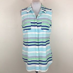 Merona Striped Sleeveless Button Down Blouse